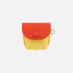 Button Shoulder A009 에어팟 가죽 케이스 옐로우오렌지