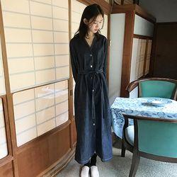 v-neck denim long dress (3colors)