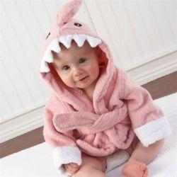 핑크상어 베이비샤워가운 아기목욕가운