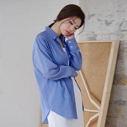 소프트 스트라이프 셔츠 (옐로베이지 블루)