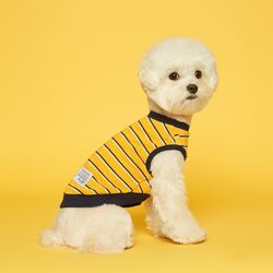 강아지옷 민소매 스트라이프 티셔츠 - 옐로우네이비