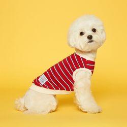 강아지옷 민소매 스트라이프 티셔츠 - 레드아이보리