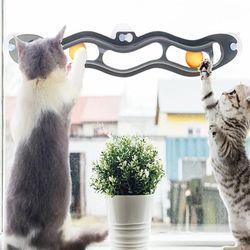 윈도우 흡착식 고양이 장난감 서킷 트랙볼