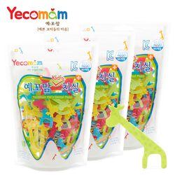 예꼬맘 유아치실 키즈 어린이용 치과치실 80개입 지퍼팩형 x 3개