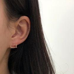 14K 반짝 큐빅 사각 귀걸이