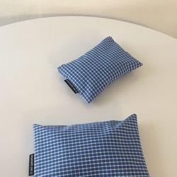 블루 체크 파우치(Blue check pouch)-small