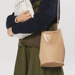 minimal cylinder shape bag - beige