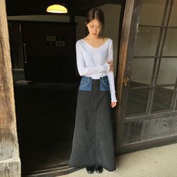 denim combination skirt (black)
