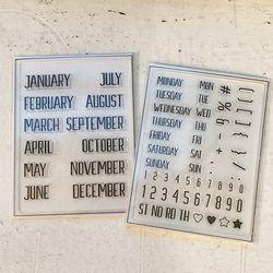 1년 365일 날짜 스탬프 세트 (글씨체종류 선택)