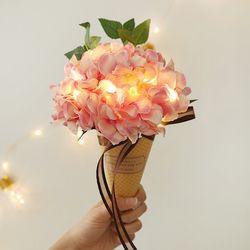 달콤 수국 아이스크림콘 꽃다발 + led전구 [2color]