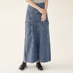 cargo maxi denim skirt (s m)