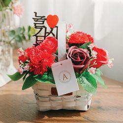 [쇼핑백+메세지픽]앰마엔 카네이션 비누꽃바구니