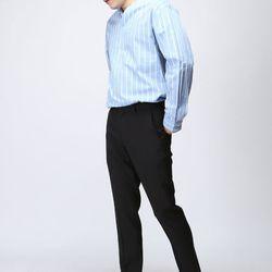 [매트블랙] 스트라이프 오픈 카라 셔츠