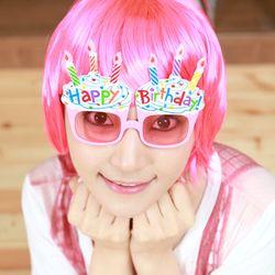 생일컵케익안경 핑크
