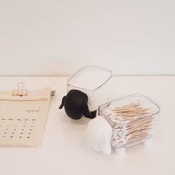 어린양 아기코끼리 면봉 화장솜케이스