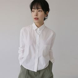 usually crop cotton shirt (4colors)