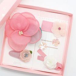 꽃가득 핑크 헤어핀세트 유아헤어핀