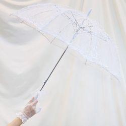 셀프 웨딩 레이스 우산 (망사화이트)