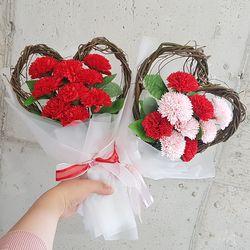 하트꽃다발 비누꽃 카네이션 꽃다발