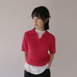 colorful crop knit (3colors)