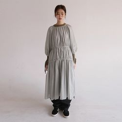 french mood long fril dress (2colors)