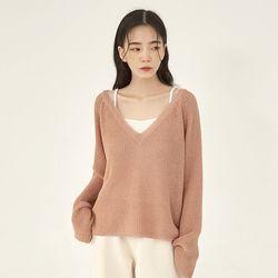net loose v-neck knit