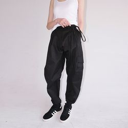 side-string cotton jogger pants