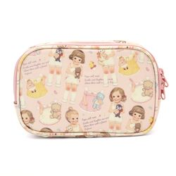 Oil-cloth daily pouch Pink pattern
