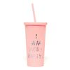 SIP SIP TUMBLER WITH STRAW - I AM VERY BUSY (PINK)