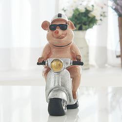 오토바이 핑크 돼지 장식인형