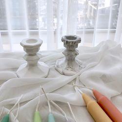 석고 촛대  캔들 홀더  팔각 석고 촛대  석고 촛대 방향제