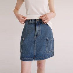 side pocket denim mini skirt