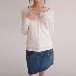 crop deep neckline cardigan set (4colors)