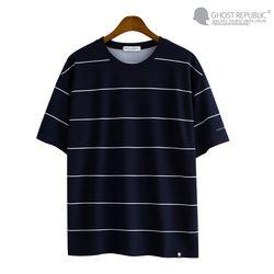 핀 스트라이프 오버핏 리버플 반팔 티셔츠 GT-3145