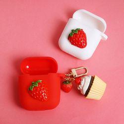 딸기 컵케익 에어팟케이스+키링