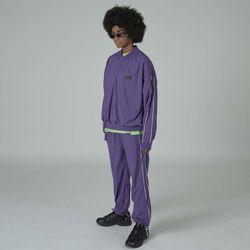 Side line woven v-neck-purple