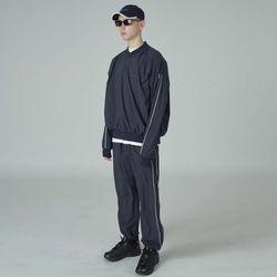 Woven line training pants-navy
