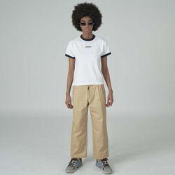 Cursor point cotton pants-beige