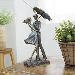 빈티지 블루 우산 연인 장식