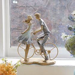 빈티지 블루 자전거 연인 장식