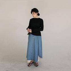 over flare denim long skirt (2colors)