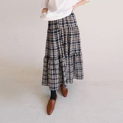 check can-can long skirt (2colors)