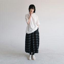 stripe long balloon skirt (2colors)