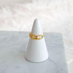 [925실버]하프 체인 골드 반지 half chain gold ring