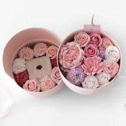 핑크작약&카네이션 2단 플라워BOX(양말포함풀패키지 양말2개)
