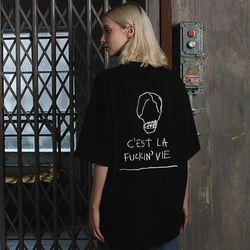 [16수] CEST LA 자수 반팔티셔츠 블랙