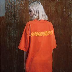 [20수] 헤비 오버핏 CPN 자수 로고 티셔츠 딥오렌지