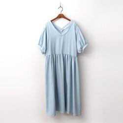 Puff Denim Long Dress