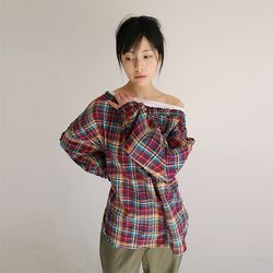 banding neckline check blouse (2colors)