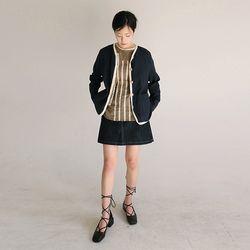 oriental mood linen cardigan (navy)